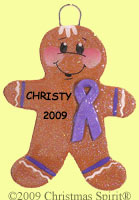 Gingerbread with Purple Support Ribbon Ornament