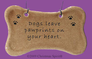 Dogs leave pawprints on your heart dog bone ornament