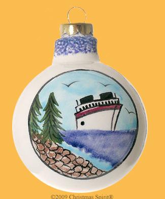 Porcelain ball with cruise ship design