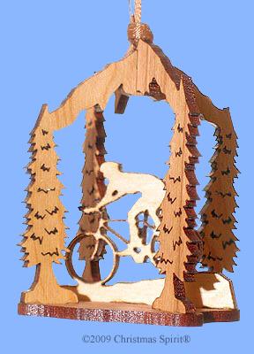 Wooden laser cut biking ornament