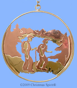 Brass and copper hiking ornament