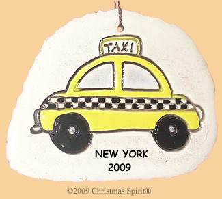 Porcelain taxi ornament