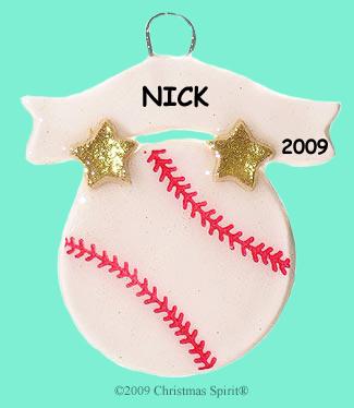 Clay baseball ornament