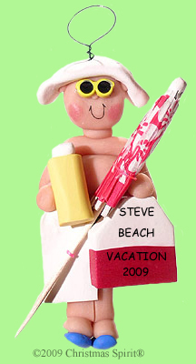 Clay beachgoer ornament