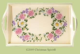 Wooden flowers serving tray