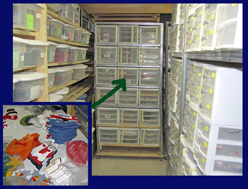 Warehouse of bins and pieces