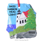 Bass Harbor Light painted on a slate chip