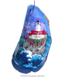 Egg Rock Light painted on a mussel shell
