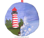 West Quoddy Light painted on a sand dollar