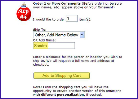 Use a Nickname and Add to Your Cart